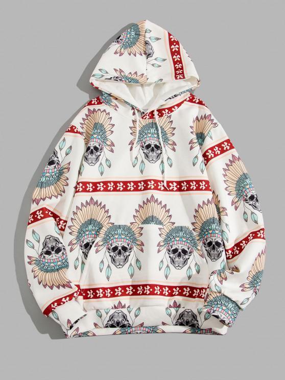 Skull Indian Tribal Pattern Kangaroo Pocket Hoodie - أبيض 3XL