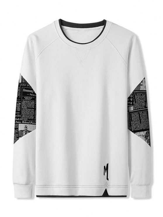 Letter Graphic Patchwork Panel Raglan Sleeve Sweatshirt - أبيض XS