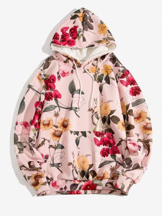 women Flower Pattern Front Pocket Casual Hoodie - LIGHT PINK M