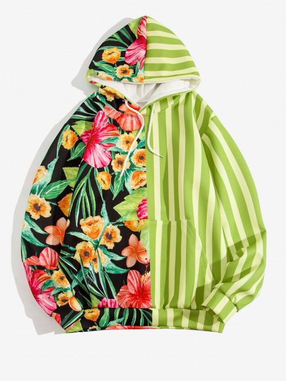 Sweat à Capuche Rayé Contrasté Motif de Fleur avec Poche Kangourou - Vert Jaune 3XL