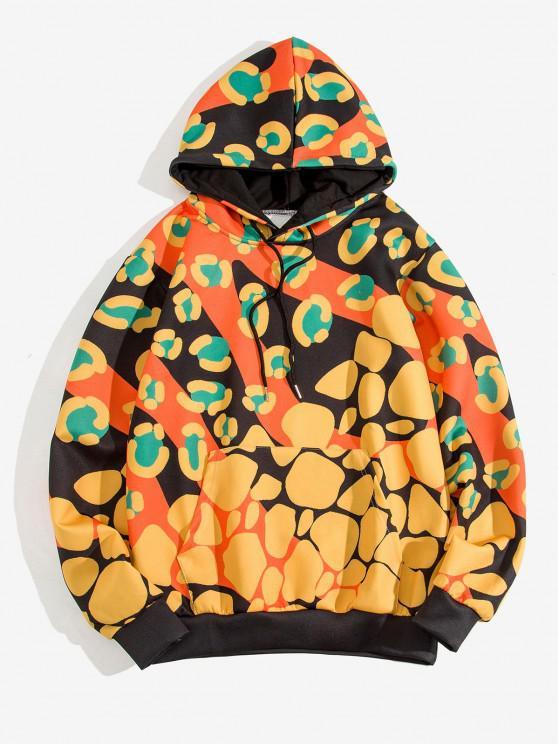 affordable Irregular Pattern Print Kangaroo Pocket Hoodie - GOLDENROD 3XL