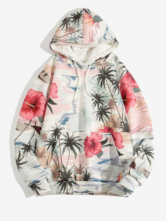 shop Palm Tree Flower Print Casual Hoodie - BABY BLUE XL