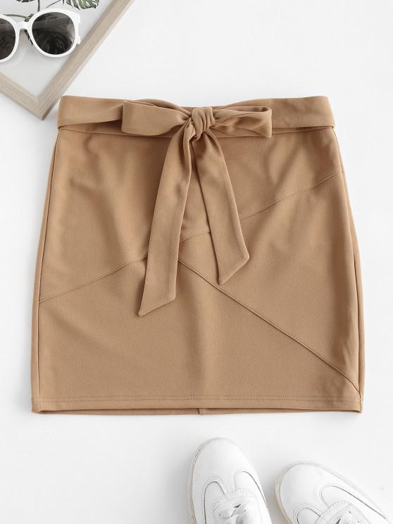 lady ZAFUL Self Tie Bowknot Mini Skirt - TAN M
