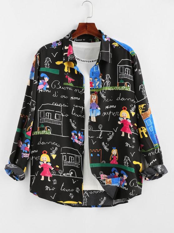 fancy ZAFUL Cartoon Pastel Print Long Sleeve Shirt - BLACK M