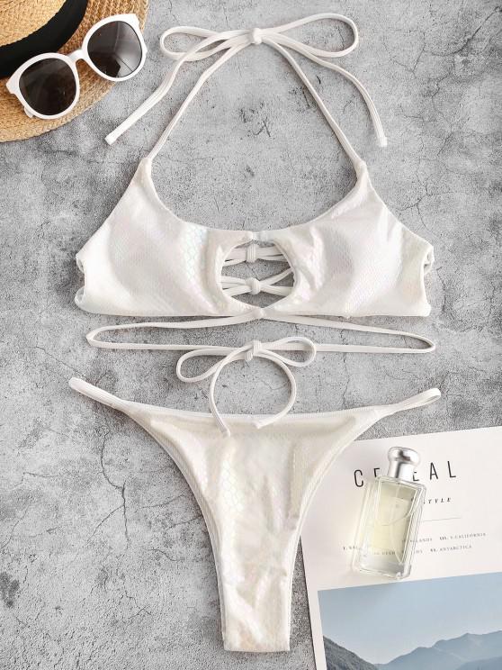 new ZAFUL Snakeskin Metallic Crisscross String Bikini Swimwear - WHITE S