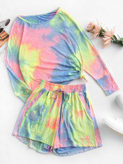 Dolman Sleeve Tie Dye Two Piece Set - Multi-a S