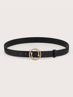 Snake Shape Round Buckle Belt - Black