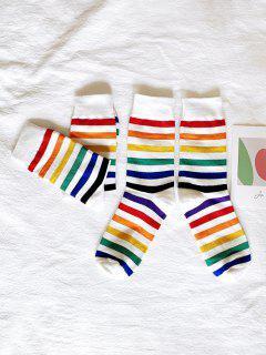 2 Pairs Rainbow Color Stripes Socks Set - Multi-a