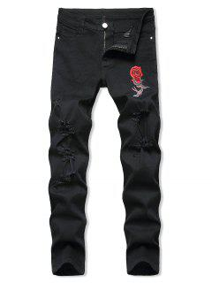 Birds Rose Flower Embroidered Ripped Tapered Jeans - Black 38