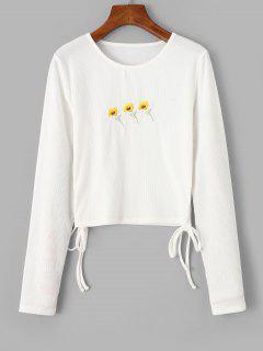 Geripptes Gesticktes Blumen T-Shirt - Weiß L