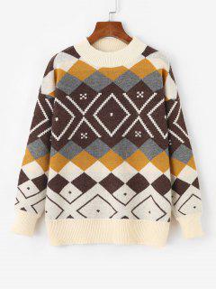 Argyle Drop Shoulder Mock Neck Sweater - White