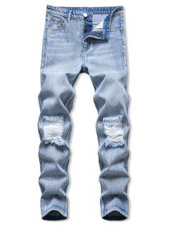 Acid Wash Ripped Tapered Jeans - Light Blue 38