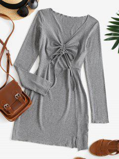 Cinched Cutout Bodycon Knit Long Sleeve Dress - Battleship Gray S