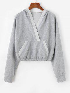 V Notch Kangaroo Pocket Crop Hoodie - Light Gray M