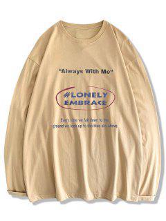 T-shirt Texte Imprimé à Manches Longues - Kaki Clair Xl