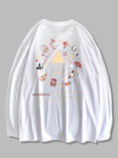 T-Shirt à Manches Longues Motif Chinoiserie - Blanc L