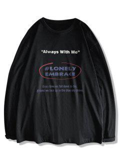 Text Print Long Sleeve T-shirt - Black Xl