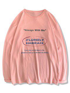 Text Print Long Sleeve T-shirt - Pink Xl