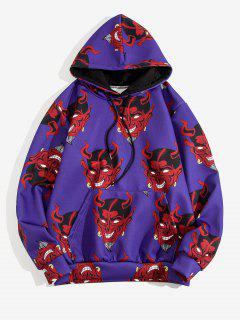 Devil Pattern Front Pocket Hoodie - Purple Iris Xl