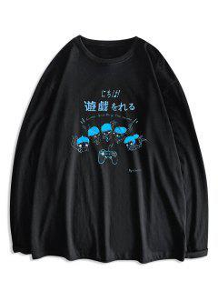 T-shirt Graphique Caractère De Dessin Animé Imprimé à Manches Longues - Noir Xl