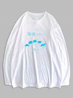 T-shirt Graphique Caractère De Dessin Animé Imprimé à Manches Longues - Blanc M