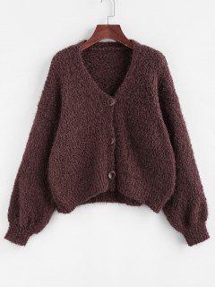Drop Shoulder Boucle Knit Cardigan - Deep Coffee S