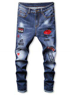 Floral Letter Embroidery Zipper Fly Casual Pencil Jeans - Blue 34
