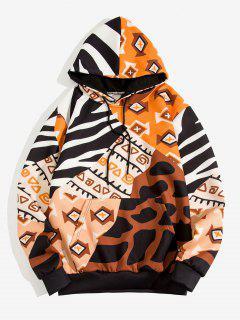 Hoodie Mit Geometrischem Camouflagedruck Und Vordertasche - Holz 2xl