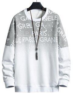 Hängender Schulter Ombre Buchstabedruck Sweatshirt - Weiß 3xl