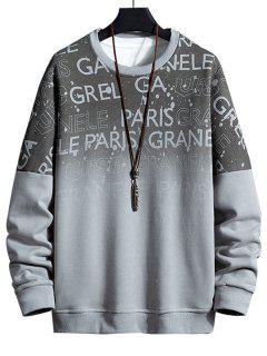 Sweat-shirt Ombré Imprimé Lettre à Épaules Tombantes - Gris 2xl