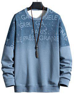 Drop Shoulder Ombre Letter Print Sweatshirt - Blue Gray L
