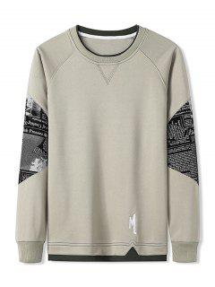 Letter Graphic Patchwork Panel Raglan Sleeve Sweatshirt - Light Khaki Xl