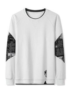 Letter Graphic Patchwork Panel Raglan Sleeve Sweatshirt - White Xs