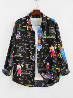 ZAFUL Cartoon Pastel Print Long Sleeve Shirt - Black M