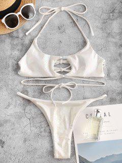ZAFUL Snakeskin Metallic Crisscross String Bikini Swimwear - White M