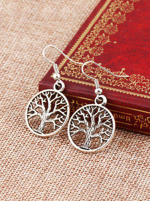unique Tree Of Life Hook Earrings - SILVER  Mobile