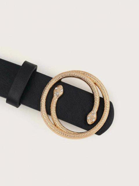 chic Snake Shape Round Buckle Belt - BLACK  Mobile