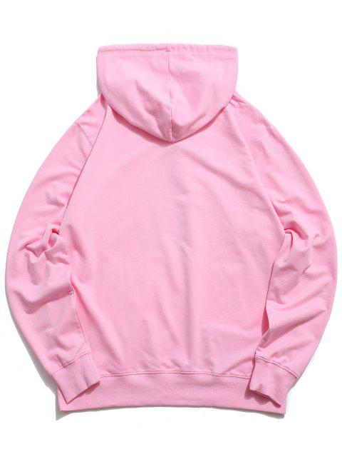 affordable Floral Tiger Graphic Drawstring Pouch Pocket Hoodie - LIGHT PINK M Mobile