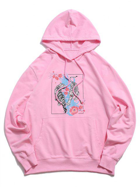 buy Floral Tiger Graphic Drawstring Pouch Pocket Hoodie - LIGHT PINK L Mobile