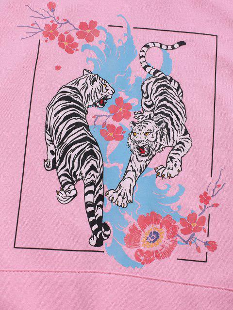 SweatàCapucheGraphiqueTigreFleuriavecPocheenAvant à Cordon - Rose Léger  2XL Mobile