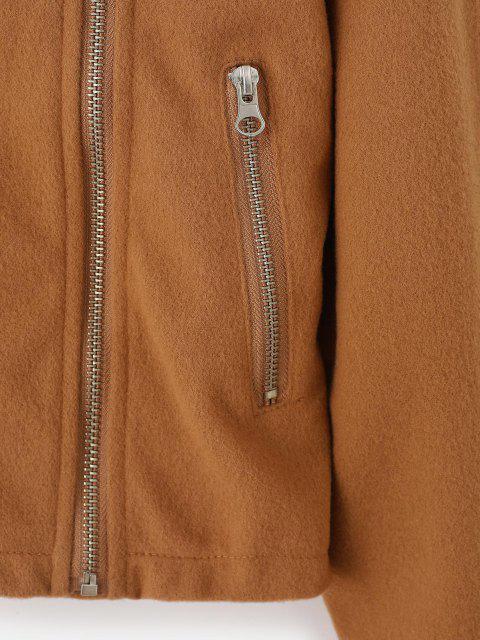 buy Inclined Zipper Plain Jacket - LIGHT COFFEE S Mobile