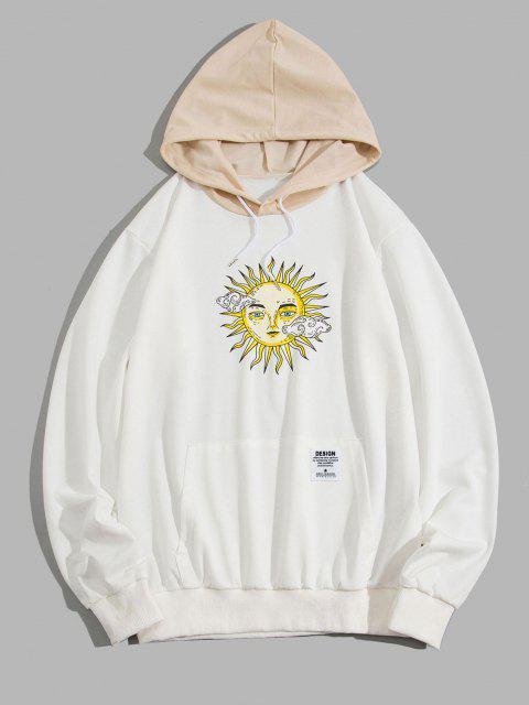 womens ZAFUL Celestial Sun Print Colorblock Hoodie - WHITE 2XL Mobile