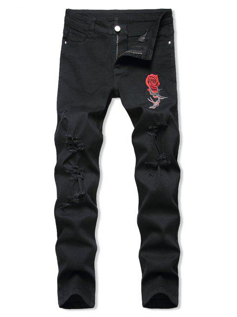 sale Birds Rose Flower Embroidered Ripped Tapered Jeans - BLACK 38 Mobile