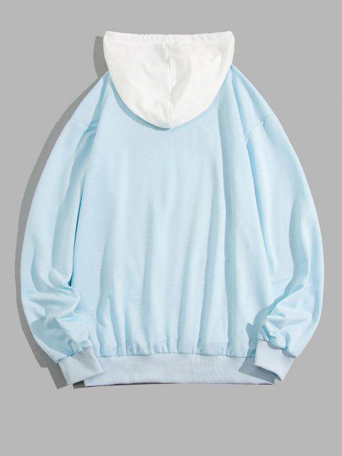 women ZAFUL Celestial Sun Print Colorblock Hoodie - LIGHT BLUE XL Mobile