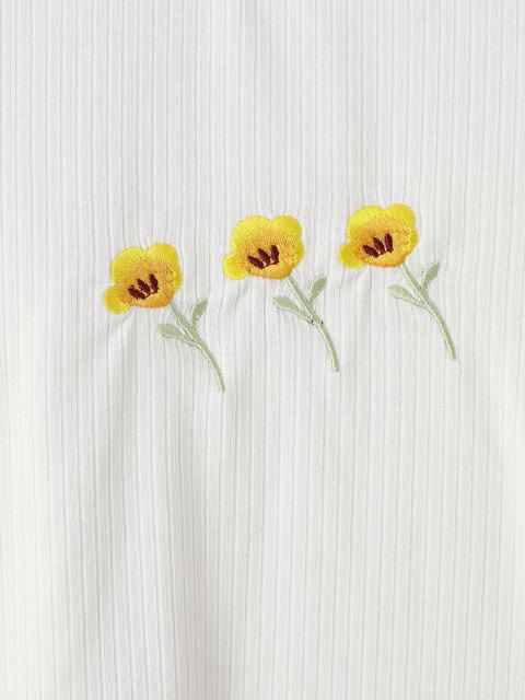 Geripptes Gesticktes Blumen T-Shirt - Weiß M Mobile