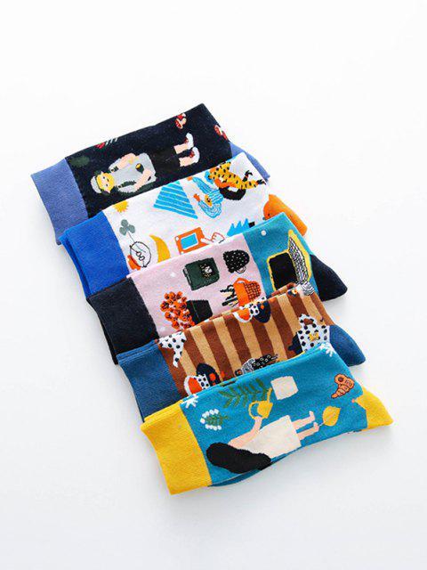 shop 5 Pairs Colorful Print Crew Socks Set - MULTI-A  Mobile
