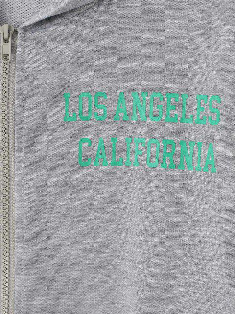 shop Zip Up CALIFORNIA Graphic Pockets Hoodie - GRAY M Mobile