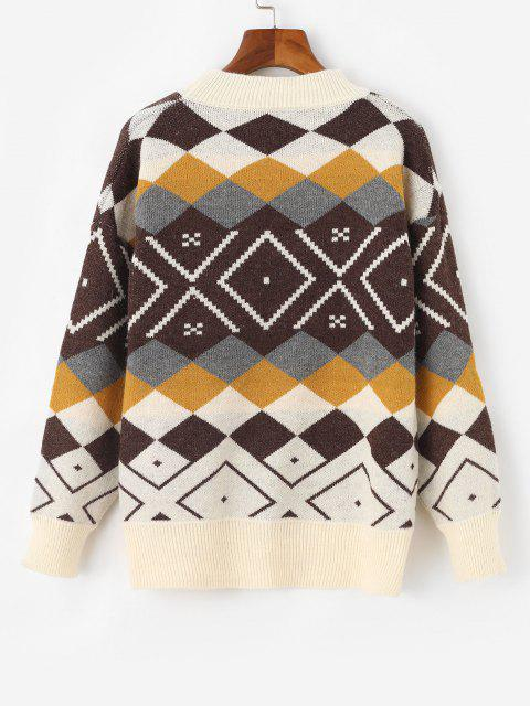 new Argyle Drop Shoulder Mock Neck Sweater - WHITE ONE SIZE Mobile