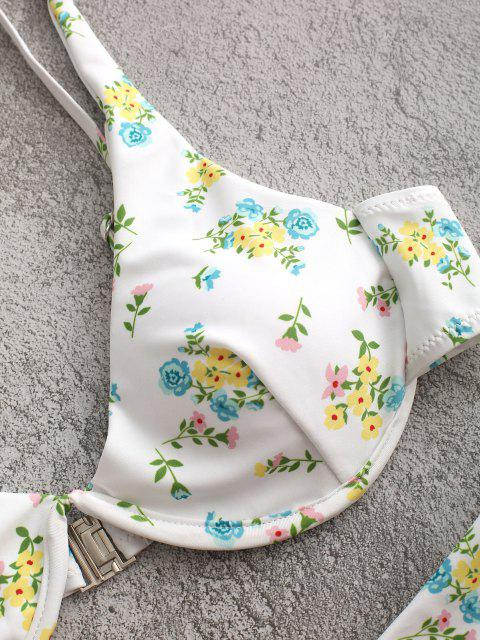 ZAFUL Blumendruck Bügel Cami Bikini Badebekleidung - Weiß L Mobile