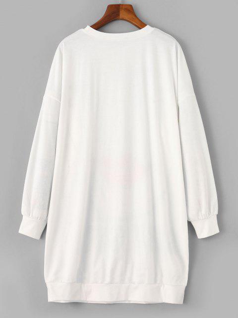 Sweat-shirt Long Graphique Figure Imprimée - Blanc M Mobile